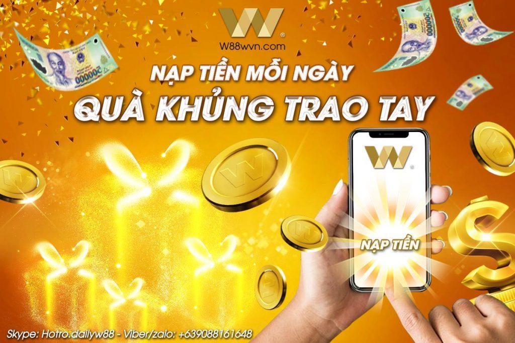 Đai lý thẻ game W88 nạp tiền mỗi ngày nhận ngay quà khủng
